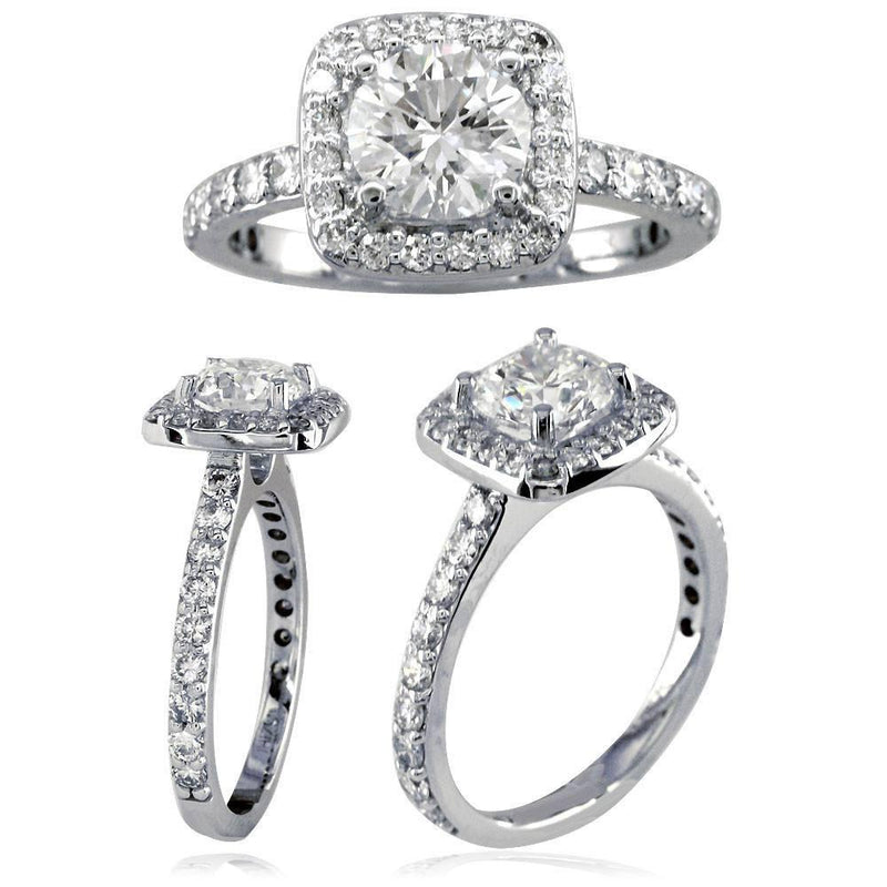 Soft Square Diamond Halo Engagement Ring Setting in 14K White Gold, 0.60CT