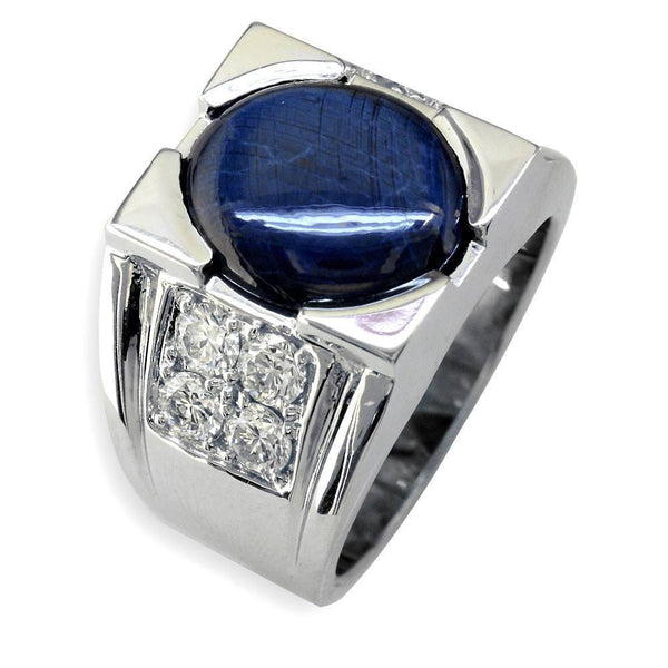Mens Large Blue Star Sapphire and Diamond Ring in 14K