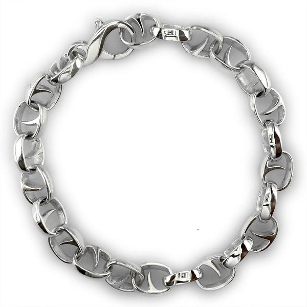 Mens Oval Claw Link Bracelet in Sterling Silver