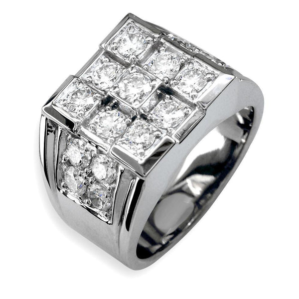 Mens Large Square Top Diamond Ring in 14K, 3.00CT