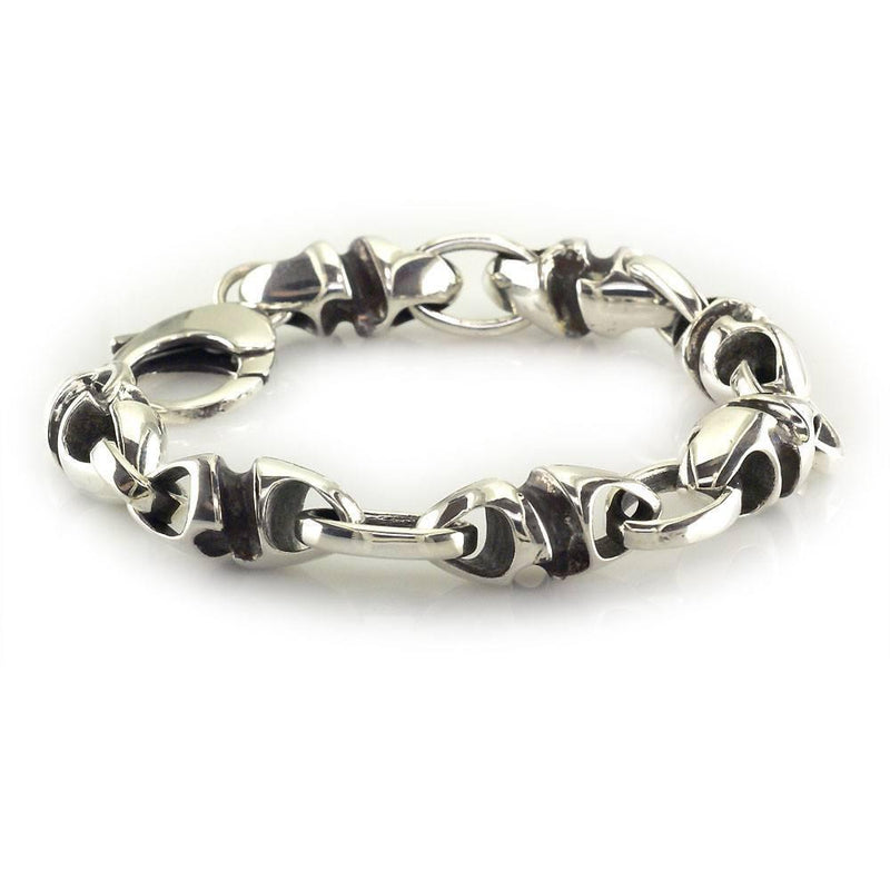 Mens Large Link Size Twisted Bullet and Open Oval Links Sterling Silver Bracelet with Black