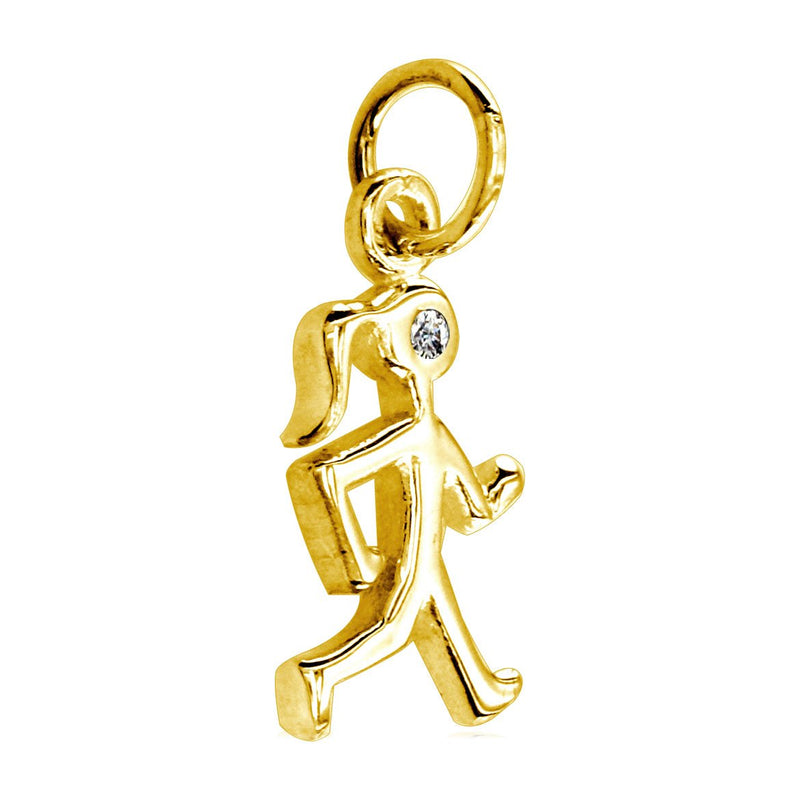 Small Diamond Lady Race Walker Charm in 14K Yellow Gold