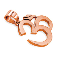 Large Classic Yoga Ohm, Om, Aum Charm in 14k Pink Gold