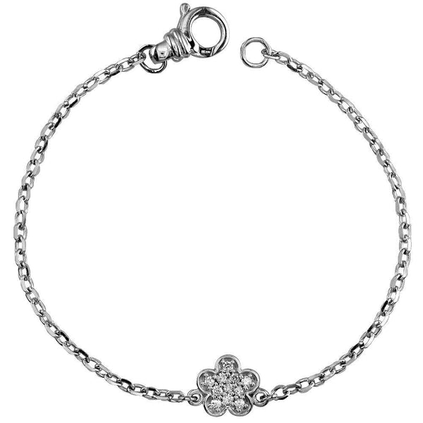 Diamond Flower Charm Bracelet