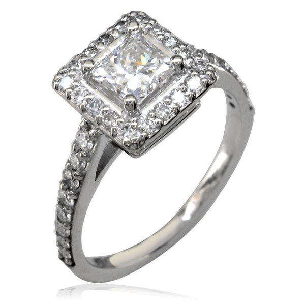 Diamond Halo Engagement Ring Setting in 18K White Gold, 0.40CT