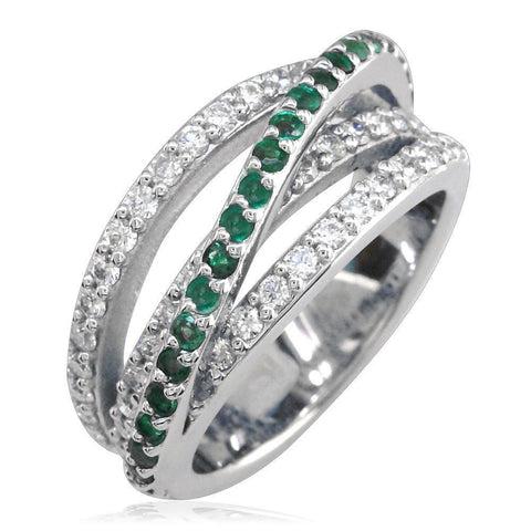 4 Row Emerald and Diamond Ring LR-Z4372