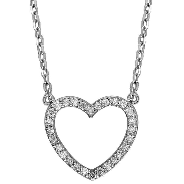 Large Open Diamond Heart Pendant with Chain, 1.00CT