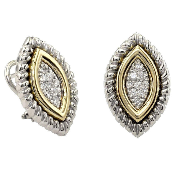 Two Tone Marquise Shape Diamond Earrings with Round Diamonds and Rope Border