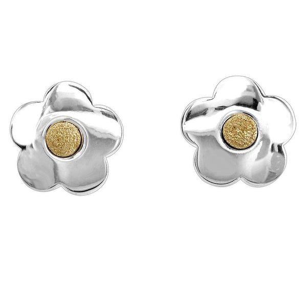 Silver and Gold Daisy Flower Earrings