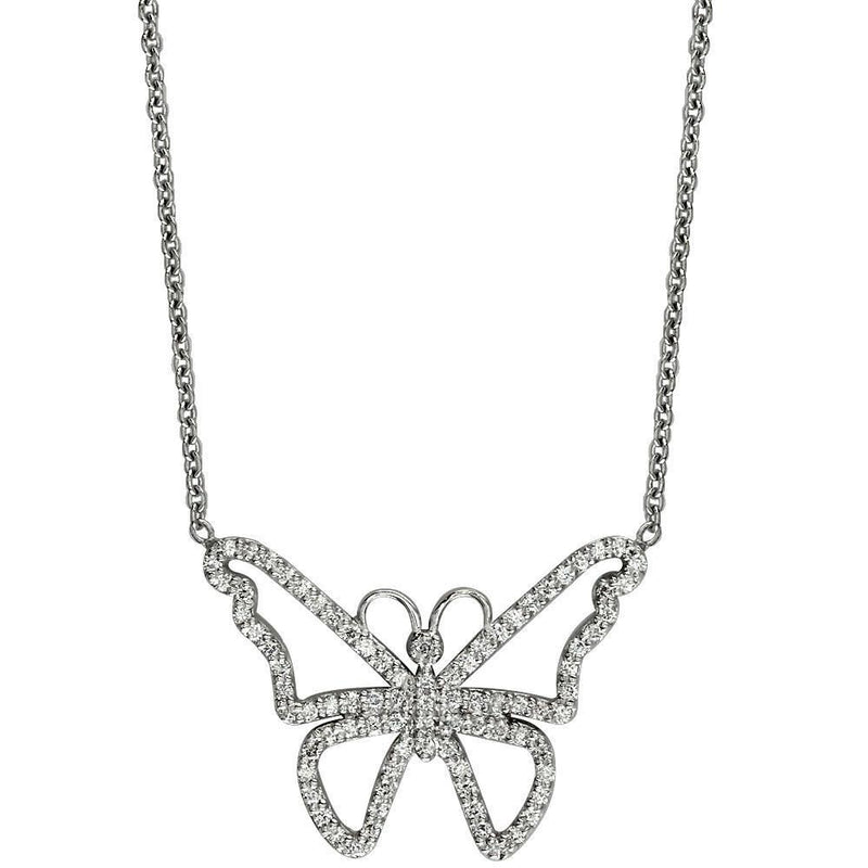 Diamond Butterfly Necklace in 14K White Gold, 0.75CT
