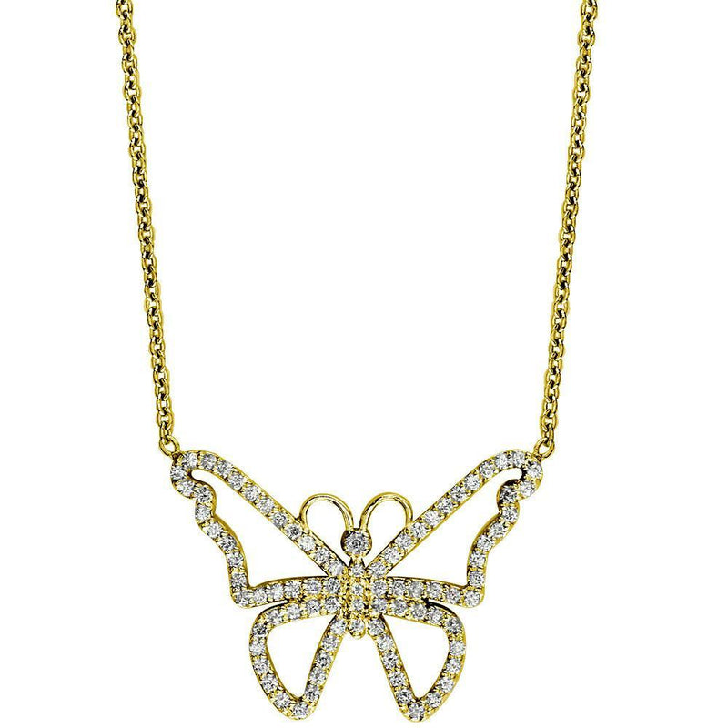 Diamond Butterfly Necklace in 14K Yellow Gold, 0.75CT