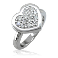 Diamond Heart Ring, 12mm in 14K White Gold, 0.45CT