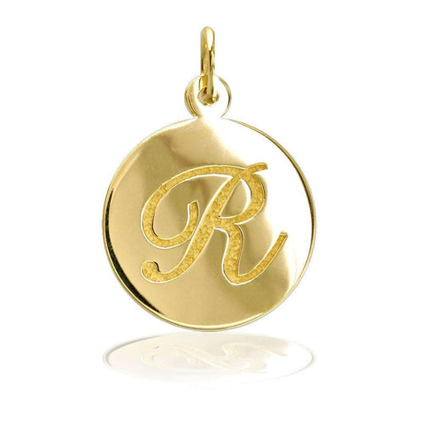 Engraved Initial Charm in 14K Gold - Half Inch Circle, Any Single Letter