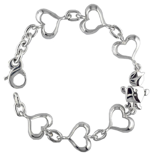 Small Belly Kids Sziro Boy and Hearts Sterling Silver Bracelet