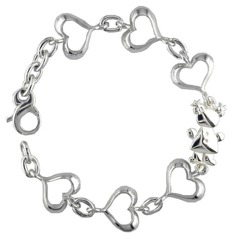 Small Belly Kids Sziro Girl and Hearts Sterling Silver Bracelet