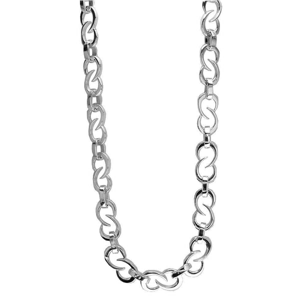 Mens Tribal Link Sterling Silver Chain, 22""