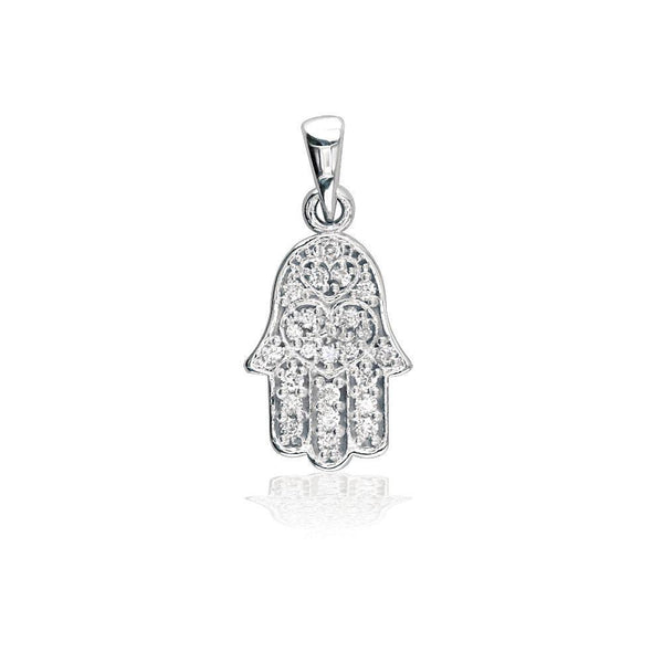 Small Cubic Zirconia Hamsa, Hand of God Charm in 14K White Gold