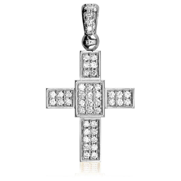Cubic Zirconia Cross Pendant in Sterling Silver