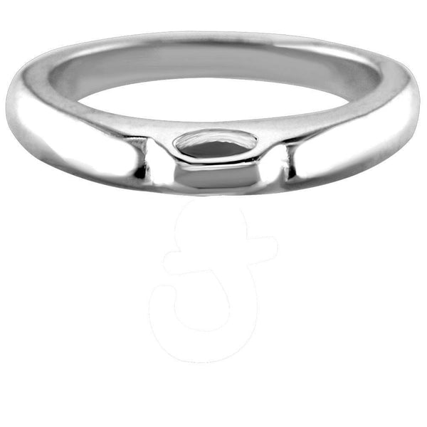 Wide - Domed Sterling Silver Charm Ring, 3.2mm Wide
