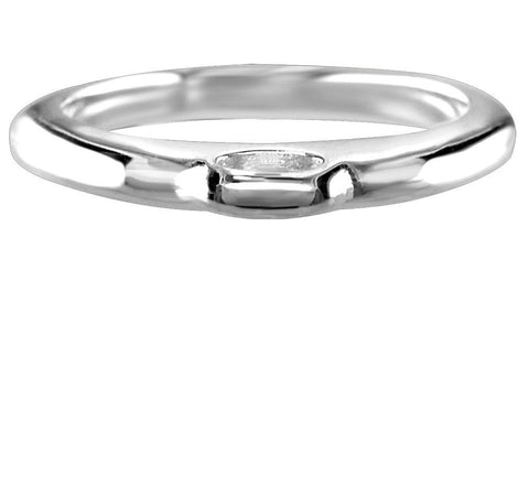 Domed Sterling Silver Charm Ring, 2.3mm Wide