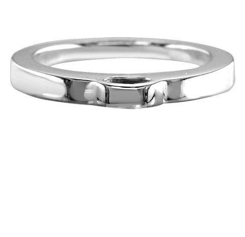 Flat Sterling Silver Charm Ring, 2mm Wide