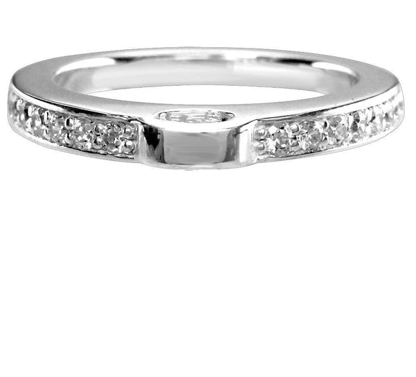Sterling Silver and Cubic Zirconia Charm Ring, 2.5mm Wide