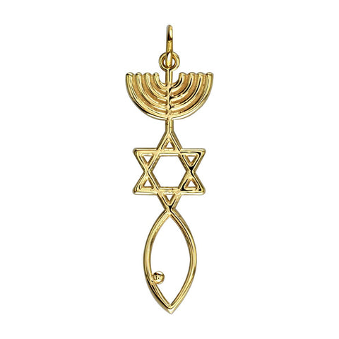 Messianic Seal Jewelry Charm in 18K yellow gold