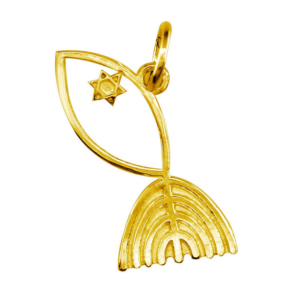Messianic Fish Charm in 14k Yellow Gold