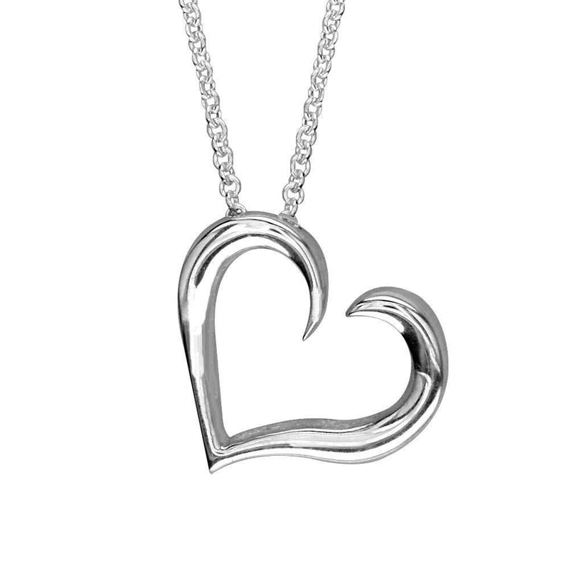 Wave Heart in 14K White Gold with Chain