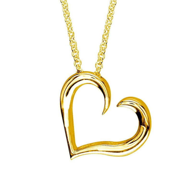 Wave Heart in 14K Yellow Gold with Chain