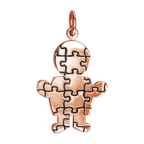 Large Autism Awareness Puzzle Boy Charm in 18K Pink Gold