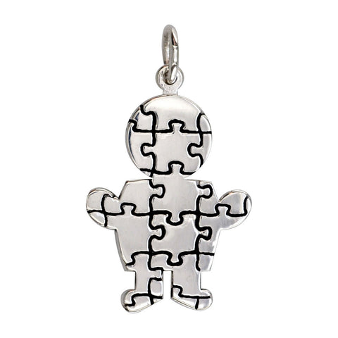 Large Autism Awareness Puzzle Boy Charm in 14K White Gold