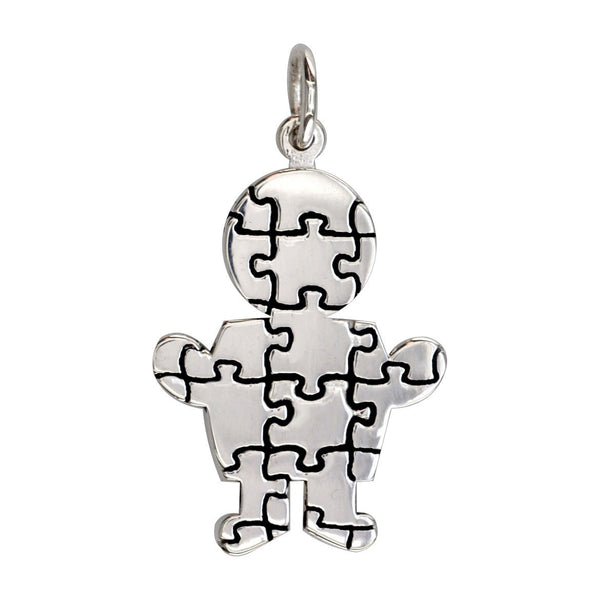 Large Autism Awareness Puzzle Boy Charm in Sterling Silver