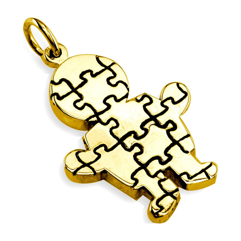 Large Autism Awareness Puzzle Boy Charm in 14K Yellow Gold
