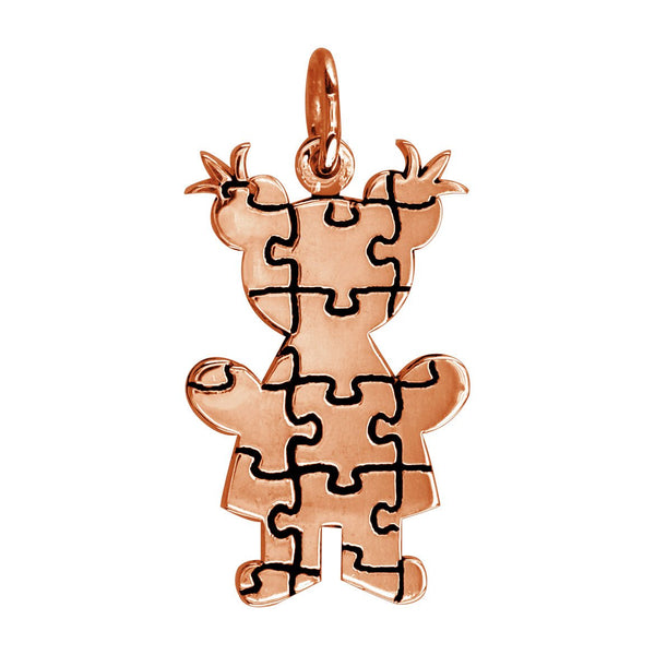 Large Autism Awareness Puzzle Girl Charm in 14K Pink Gold