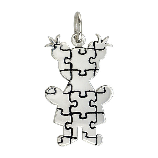 Large Autism Awareness Puzzle Girl Charm in Sterling Silver