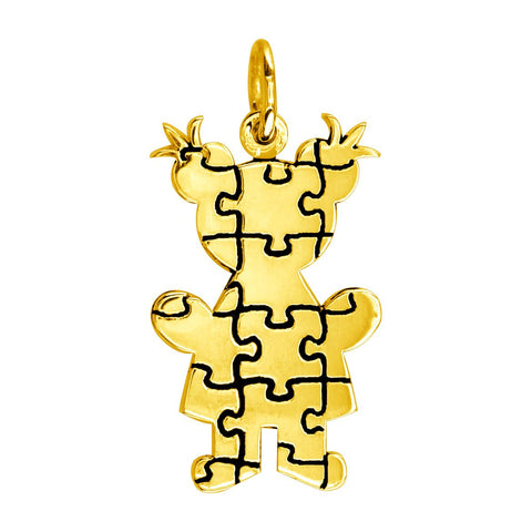 Large Autism Awareness Puzzle Girl Charm in 18K Yellow Gold