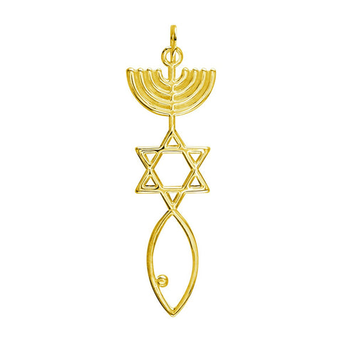 Large Size Messianic Seal Jewelry Charm in 18K yellow gold