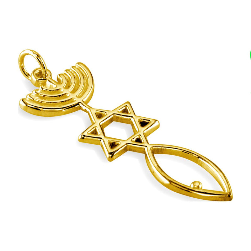 Large Size Messianic Seal Jewelry Charm in 14K Yellow Gold