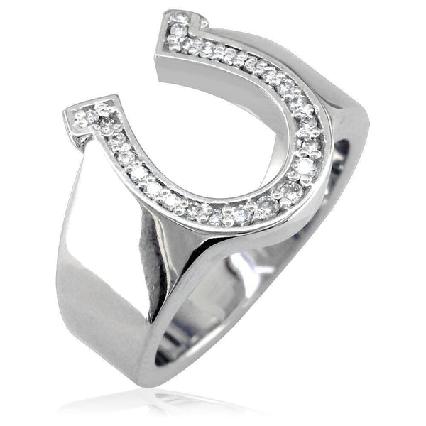 Sterling Silver and Cubic Zirconia Horseshoe Ring, 0.20 CT