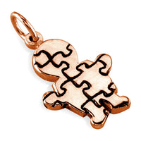 Small Autism Awareness Puzzle Boy Charm in 14K Pink Gold