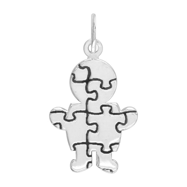 Small Autism Awareness Puzzle Boy Charm in 14K White Gold