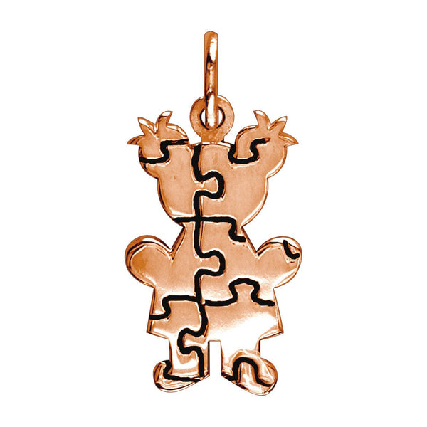 Small Autism Awareness Puzzle Girl Charm in 14K Pink Gold