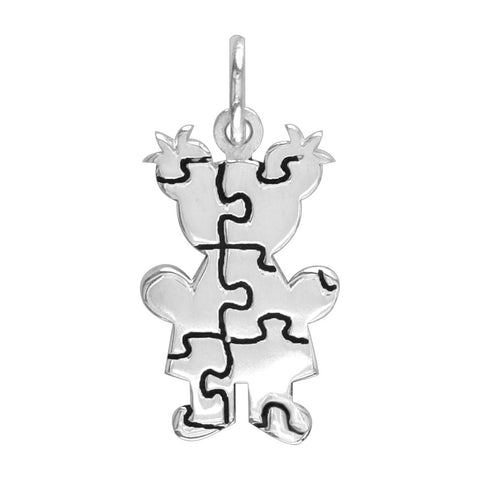 Small Autism Awareness Puzzle Girl Charm in 18K White Gold
