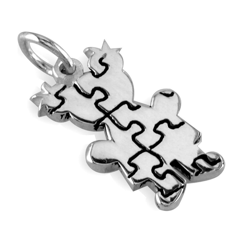 Small Autism Awareness Puzzle Girl Charm in 14K White Gold