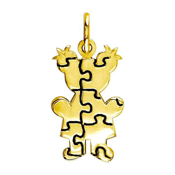 Small Autism Awareness Puzzle Girl Charm in 18K Yellow Gold