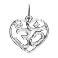Mini Heart Yoga Ohm, Om, Aum Charm in 14K White, Yellow, Or Pink (Rose) Gold with Diamond Accent