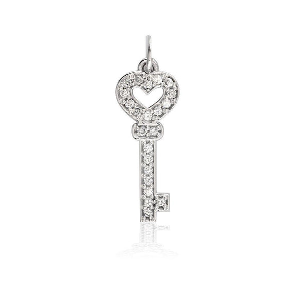 Small Diamond Heart Key Pendant in 14K White Gold 7/8 Inch