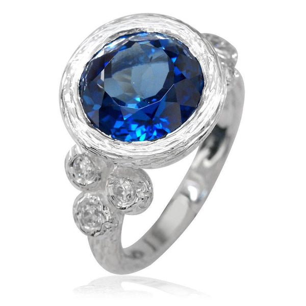 Natures Glory Blue Topaz and Cubic Zirconia Sterling Silver Ring