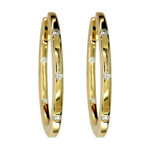 Large Diamond Oval Hoop Earrings in 14K Yellow Gold